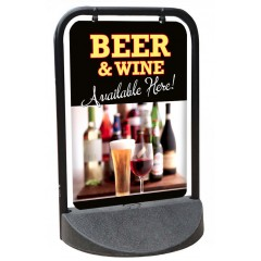 Beer and Wine Swinger Pavement Sign
